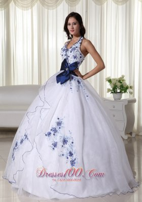 Halter White Quinceanera Dress Hand Made Flower Embroidery