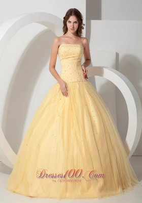 2013 Light Yellow Ball Gown Quinceanera Strapless Floor-length