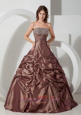 Brown Strapless Pick-ups Taffeta Beading A-line