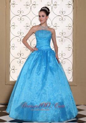 Strapless Quinceanera Dress Beaded Taffeta Organza