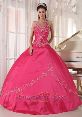 Red Quinceanera Dress Halter Taffeta Appliques