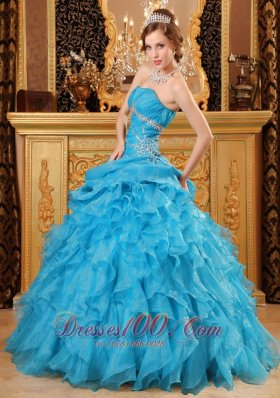 Sky Blue Quinceanera Dress Organza Beading Ruffles