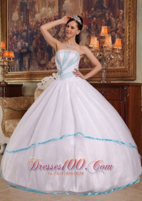 White Quinceanera Dress Ruched Strapless Organza Beading