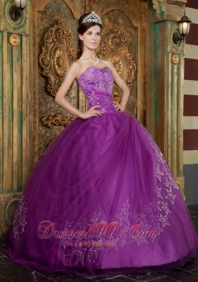 Purple Quinceanera Beaded Dress Sweetheart Appliques Tulle