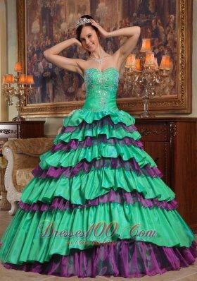 Green Quinceanera Dress Sweetheart Taffeta Organza Beading