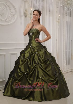 Green Quinceanera Dress Taffeta Satin Beading