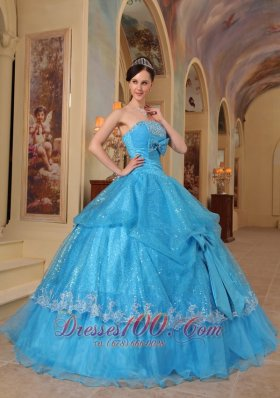 Baby Blue Quinceanera Dress Strapless Bows Sequins