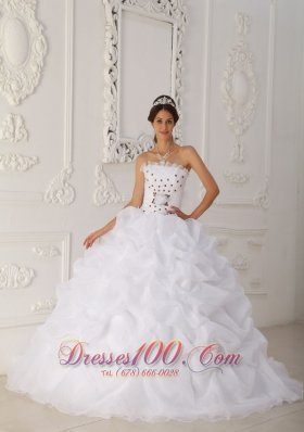 White Quinceanera Dress Strapless Organza Beading Floral