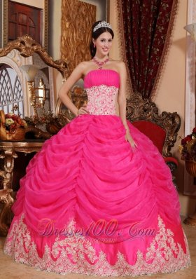 Hot Pink Strapless Organza Beading Quinceanera Dress