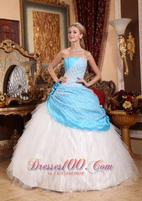 Strapless Taffeta Tulle Floral Beaded Quinceanera Dress