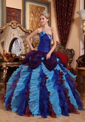 Strapless Taffeta Quinceanera Dress Organza Appliques Beading