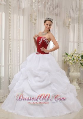 White Quinceanera Dress Strapless Organza Appliques