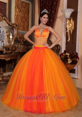 Beaded Tulle V-neck Orange Red Quinceanera Dress