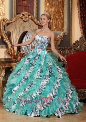 Romantic Multi-color Quince Dress Printing Ruffles