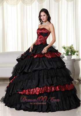 Chic Ball Gown Strapless Zebra Ruffled Quinceanera Dress