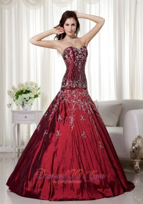 Taffeta Wine Red Beading and Embroidery Quinceanera Gowns