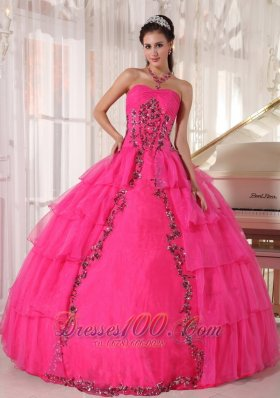 Fashionable Paillette Hot Pink Quinceanera Dress Sweetheart