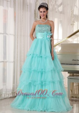 Apple Green Beading A-line Green Quinceanera Gowns Organza