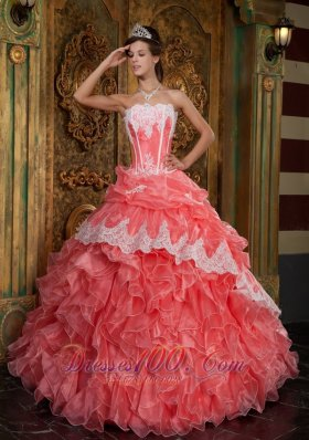 Waltermelon Sweet sixteen Dresses Strapless Organza Appliques Ruffles