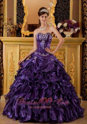 Purple Sweet 16 Dress Sweetheart Ruffles Organza Ball Gown