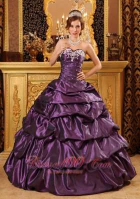 Dark Purple Taffeta Dress for Quinceanera Appliques Ball Gown - US ...