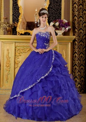Purple Quinceanera Dress Sweetheart Ruffles Organza Ball Gown