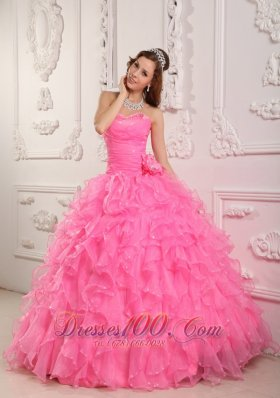 Rose Pink Quinceanera Dresses Gowns Organza Beading Flower