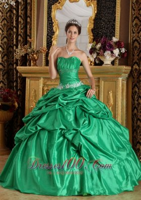 Ball Gown Green Quinceanera Dress Taffeta Beading