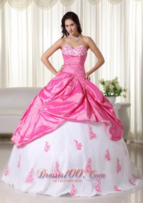 Appliques Pink and White Ball Gown Taffeta Quinceanera Dress