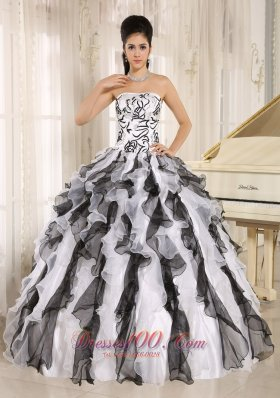 Multi-color Quinceanera Gowns Embroidery and Ruffles Organza