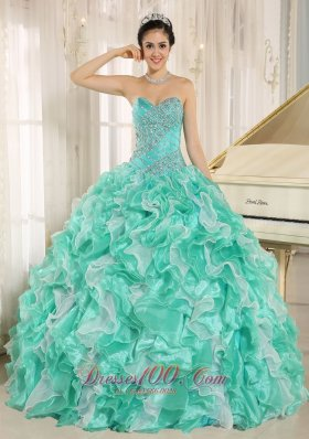 8c94a97043c Apple Green Beaded and Ruffles Dress for 2013 Quinceanera