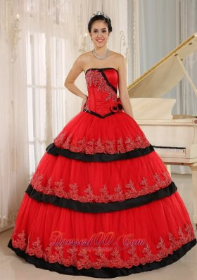 Red Handmade Flowers Lace for 2013 Quinceanera Dress