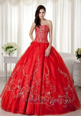 Sweetheart Red Organza Beading and Embroidery Sweet 16 Dresses