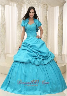 Taffeta Teal Sweetheart Appliques With Jacket Dress for Quinceanera