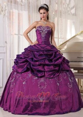Embroidery With Beading Eggplant Purple Quinceanera Dress Taffeta