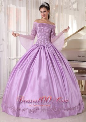 Lavender Off Shoulder Taffeta Appliques Dress for Girls