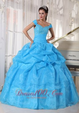 Off The Shoulder Beading Sky Blue Dresses 15 Organza