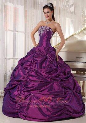 Purple Ball Gown Taffeta Embroidery Quinceanera Dress