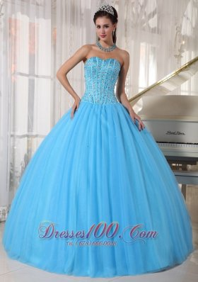 Plus Size Sky Blue Quinceanera Dress Tulle Beading