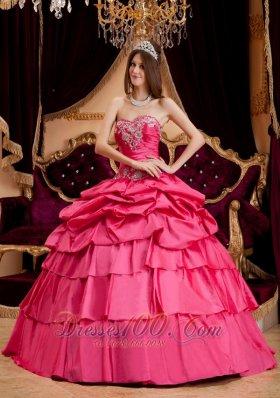 Hot Pink Appliques Quinceanera Dress Plus Size Taffeta