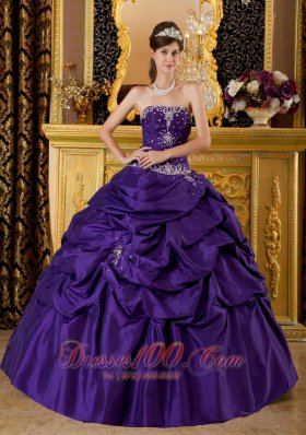 Purple Ball Gown Dresses Of 15 Taffeta Appliques