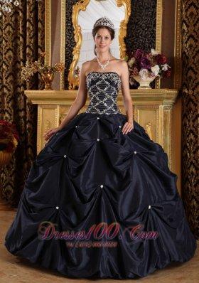 Plus Size Beading Taffeta Black Quinceanera Dress