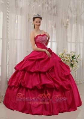 Ball Gown Beading Coral Red Quinceanera Dress Taffeta