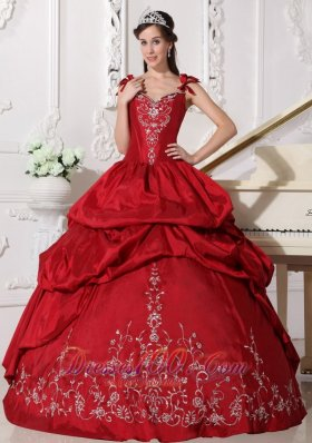 Straps Wine Red Quinceanera Dress Taffeta Embroidery