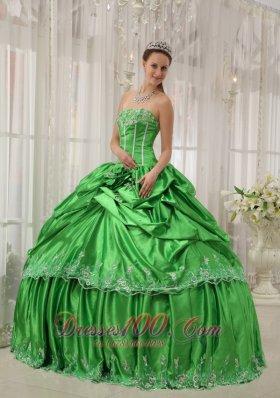 Taffeta Beading and Applique Green Quinceanera Dress Plus Size