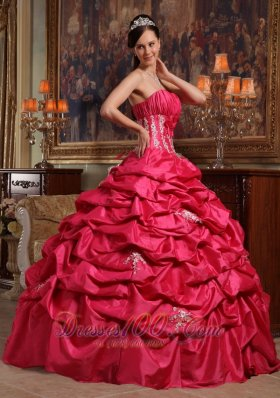 Strapless Appliques Taffeta Coral Red Quinceanera Dress