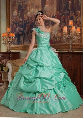 One Shoulder Apple Green Quinceanera Dress Flowers Taffeta