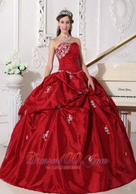 Wine Red Plus Size Beading Taffeta Quinceanera Dress
