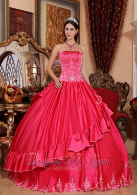 Satin and Taffeta Embroidery Hot Pink Quinceanera Dress