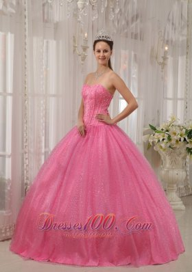 Pink Plus Size Quinceanera Dress Sequin and Beading